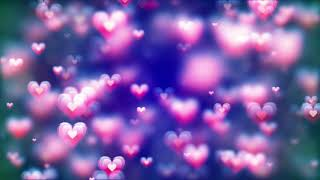 Twohour relaxing screensaver with Valentine's day abstract background, flying hearts