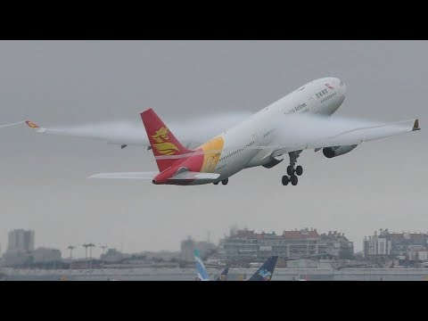 HEAVY CONDENSATION | Capital Airlines A330-200 Takeoff at Lisbon Airport