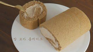 쌀가루로 만든 부드럽고 촉촉한 모카롤케익(Rice Mo…
