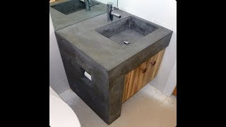 احواض من الاسمنت للحمام و المطبخ موضه 2019 DIY Concrete Counters Poured over Laminate