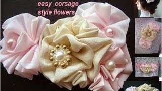 HOW TO MAKE CORSAGE STYLE FABRIC FLOWERS(Easy to make fabric flowers for corsage applications, wedding accessories, bridal, prom, confirmation, baptism, christening, headbands, brooches, hat ..., 2012-07-06T13:17:49.000Z)