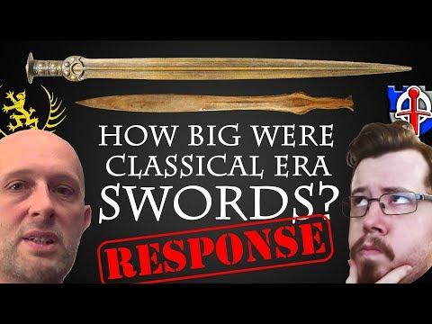 How big were classical era swords, REPLY to Scholagladiatoria