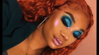 Blue Green Glitter Cut Crease Makeup Look | MakeupTiffanyJ
