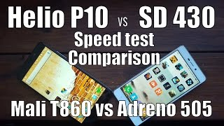 Helio P10 vs Snapdragon 430 speed test/comparison/gaming(Mali vs Adreno/GPU)MSM8937/MTK6755