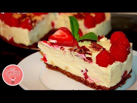No Bake White Chocolate And Raspberry Cheesecake малиновый чизкейк с белым шоколадом рецепт