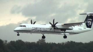 Alaska Airlines (Horizon Air) N406QX Q400 Landing Portland Airport (PDX)