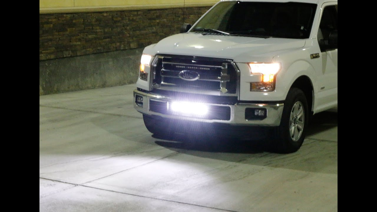 Ijdmtoy 2015 up ford f 150 lower bumper led light bar install youtube aloadofball Choice Image