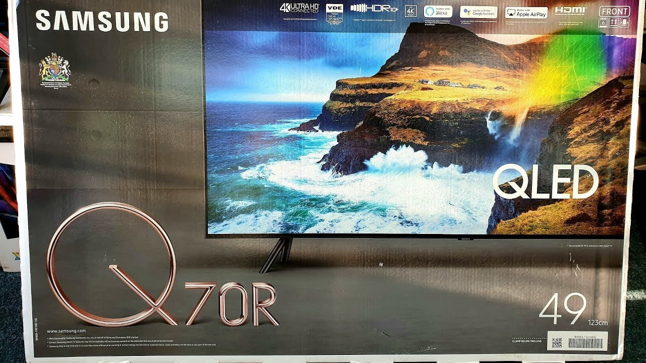 Samsung 2019 Q70R 4K QLED Unboxing and Setup, 49Q70R with retail DEMO