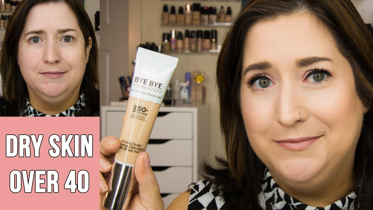 It Cosmetics Bye Bye Foundation Full Coverage Moisturizer Dry Skin Review 11 Hour Wear Test Youtube