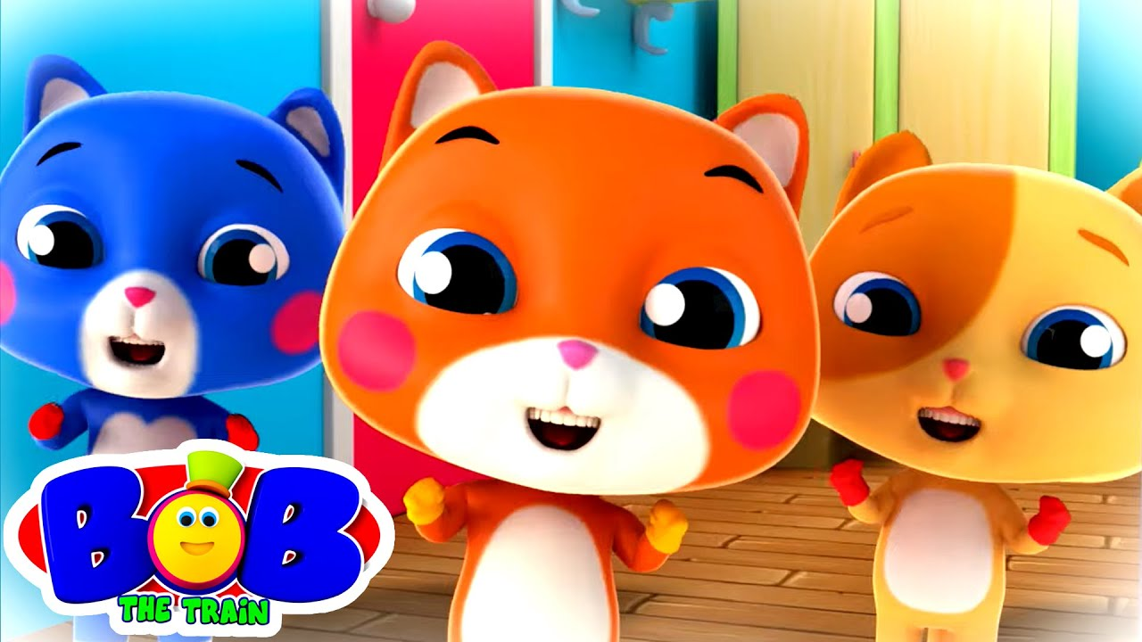 Download Three Little Kittens | Cat Song | Nursery Rhymes & Baby Songs | Bob The Train | Kids Tv