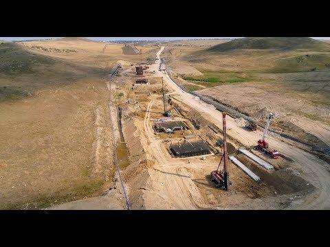 Крымскій мостъ 4K: Строительство желѣзнодорожныхъ подходовъ въ Керчи