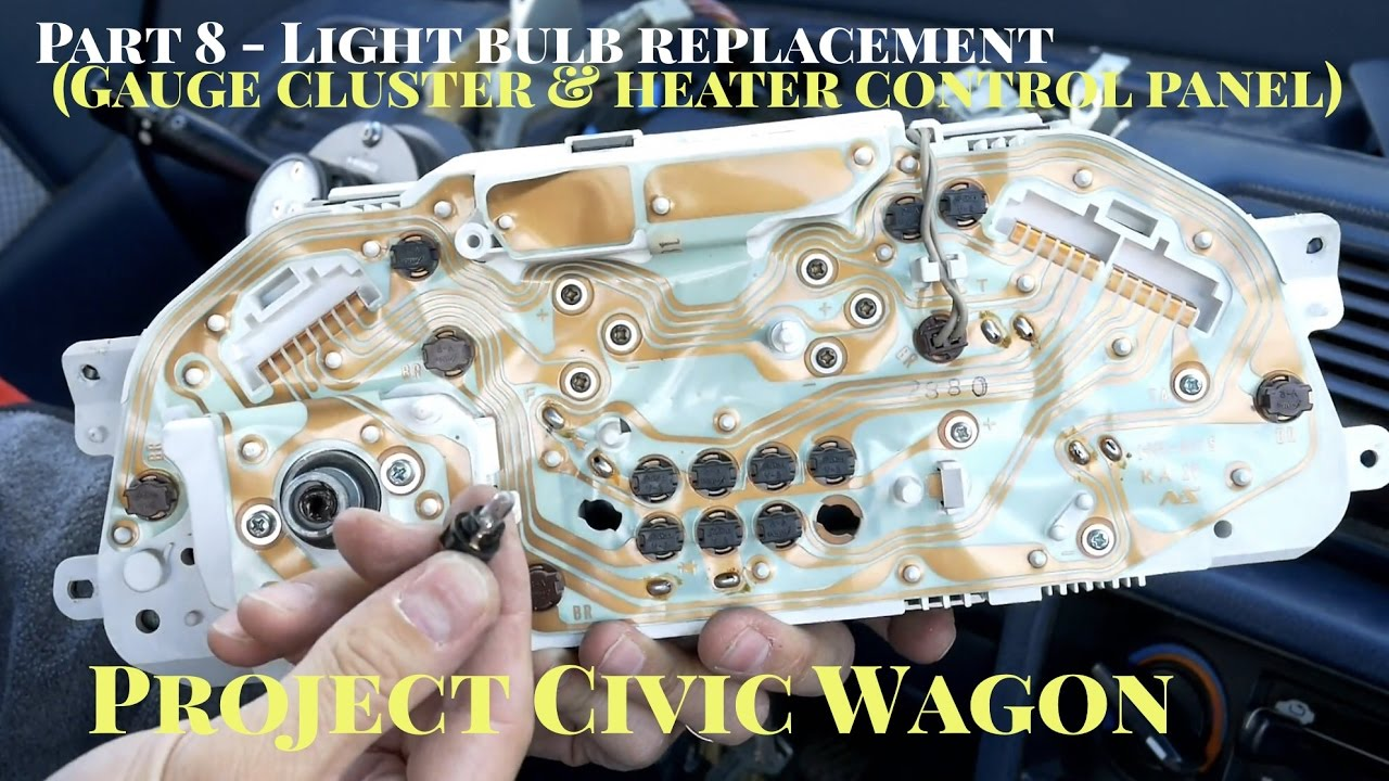 hight resolution of how to replace gauge cluster heater control panel light bulbs 1991 honda civic wagon youtube
