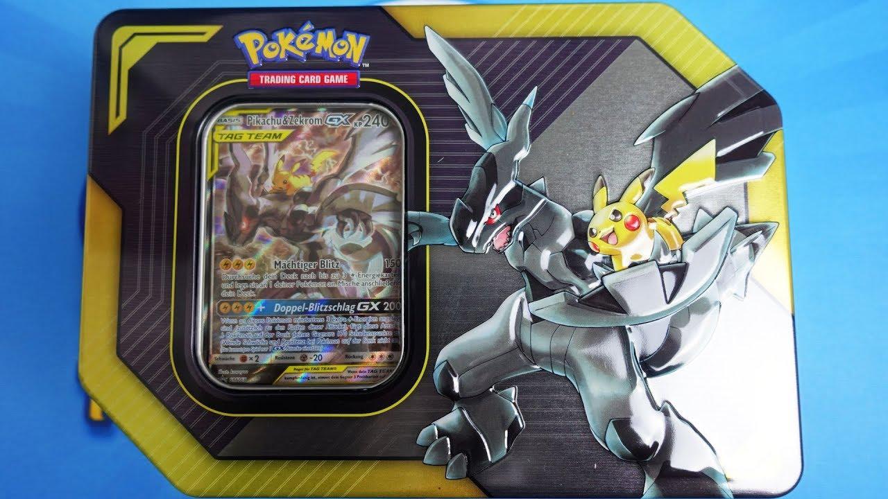 Pokemon Karten Gx Pikachu.Pokemon Pikachu Zekrom Gx Tag Team Tin Box Opening Unboxing
