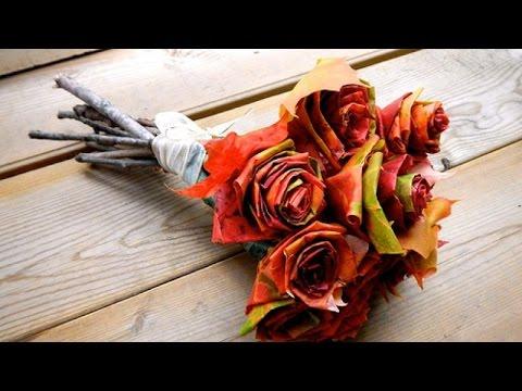 Осенняя поделка-1. Роза из листьев.