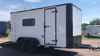 New White Blackout 7x16 Off Road Cargo Trailer for sale - power, insulation, ac!
