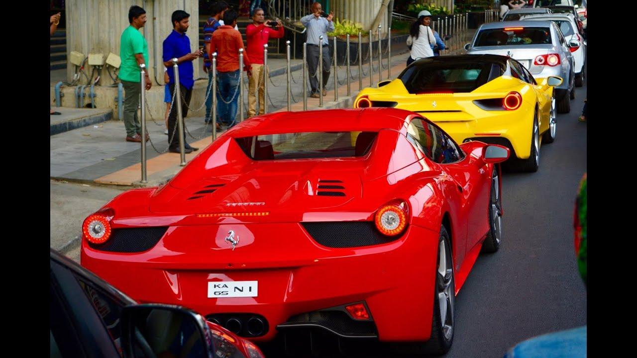 Great 3 Ferrariu0027s Together In Bangalore, FERRARI 488, FERRARI 458 SPIDER, FERRARI  458 ITALIA   YouTube