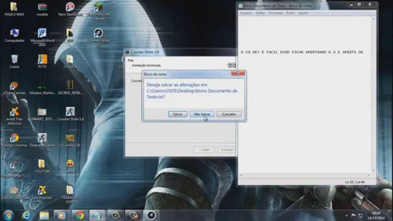 cs 1.6 no steam pedindo cd key