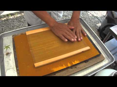 Making decorative art paper using a traditional method: in South Korea, Seoul