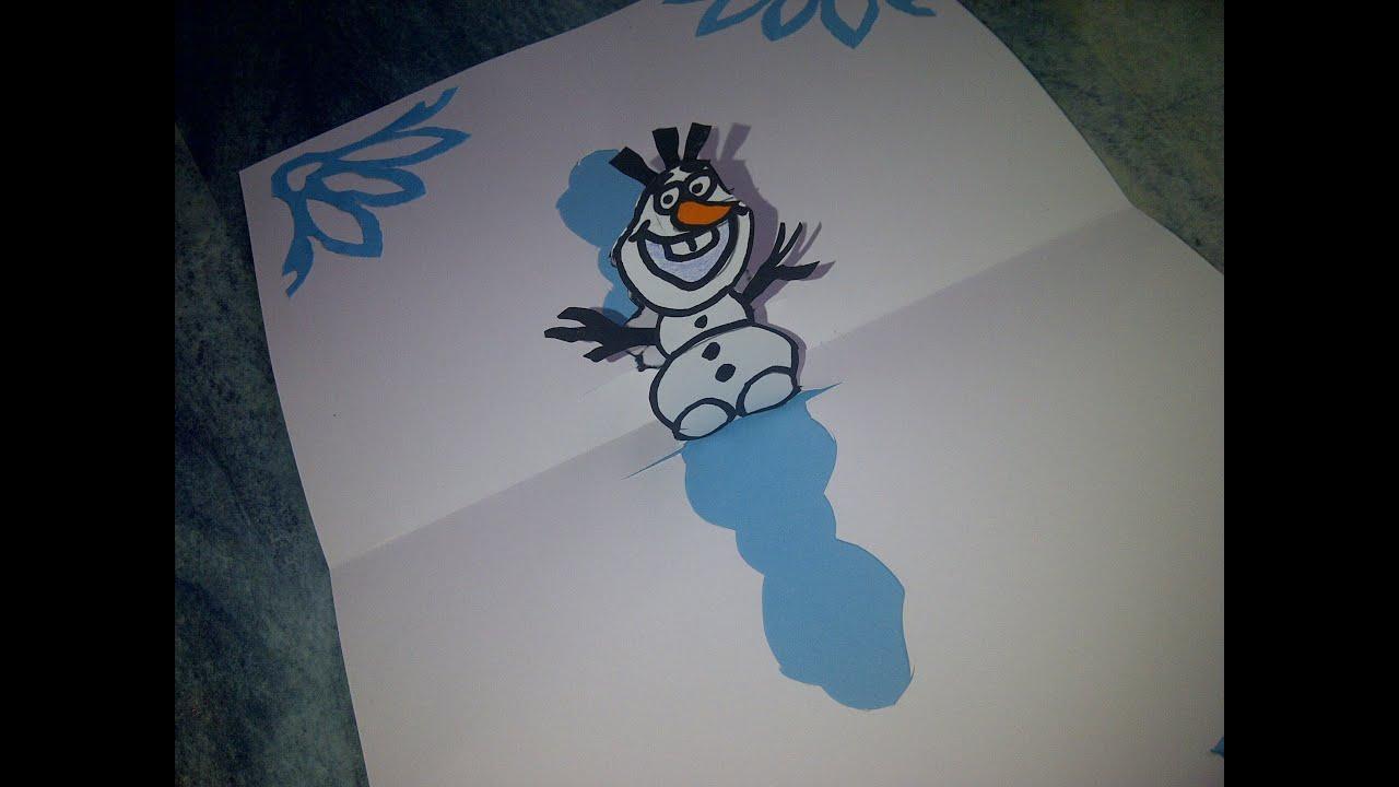 cmo hacer d tarjetas de navidad con mueco de nieve olaf de frozen
