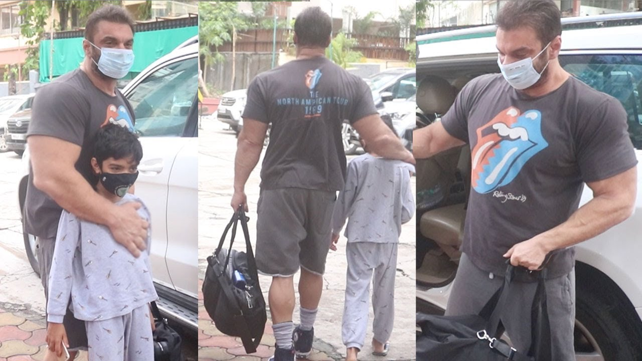 Woh..! Bollywood Fittest Dad Sohail Khan Brings His Younger Boy Youhaan To Train With Him At Gym