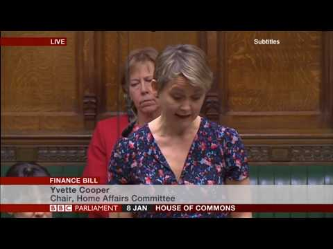 Yvette Cooper MP introducing her Amendment 7 motion to the Finance Bill