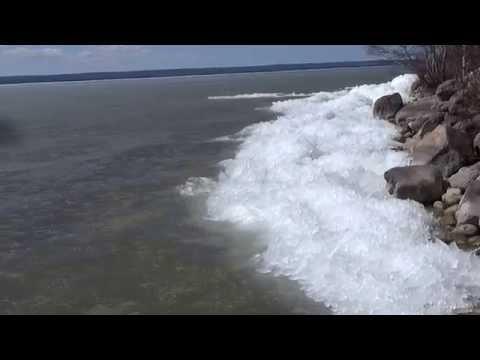 Ice Tsunami at Waskesiu Marina Breakwater