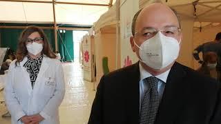 Il Commissario della Asl Bt Alessandro Delle Donne visita il centro vaccinale del PalaCosmai