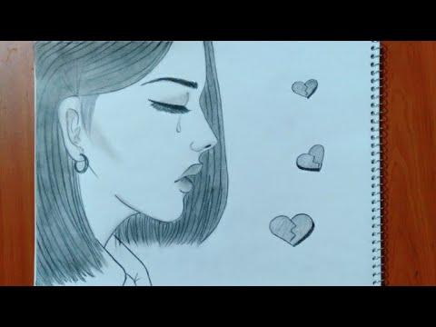 رسم سهل رسم بنت حزينة تبكي سهل بطريقة سهلة وبسيطة رسم بنات