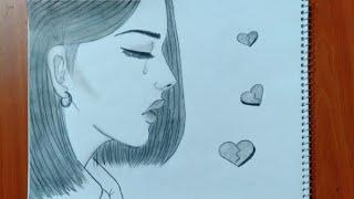 رسم سهل | رسم بنت حزينة تبكي سهل بطريقة سهلة وبسيطة | رسم بنات