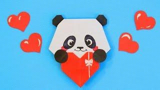 Милая Панда с Сердечком - Валентинка Подарок из бумаги