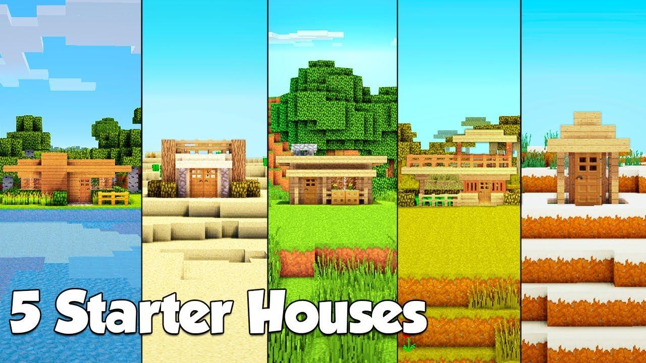 Minecraft 5 Starter House Build Hacks Ideas Tutorial 2 Youtube