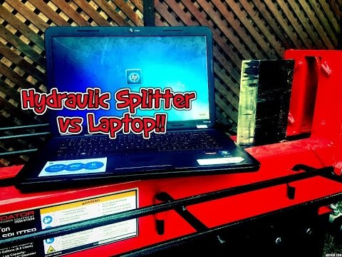 Hydaulic Log Splitter Vs Laptop Computer (Hydraulic Press) what will happen?
