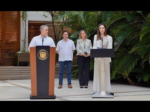 Presidente Iván Duque y de Angelina Jolie, enviada especial de Acnur - 8 de junio de 2019