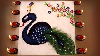 Easy Rangoli : How to Make Diwali Special Peacock Rangoli Design Step by Step...