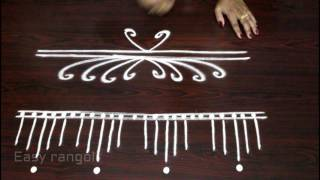 creative and easy rangoli side designs with out dots || side designs for kolam -muggulu side designs