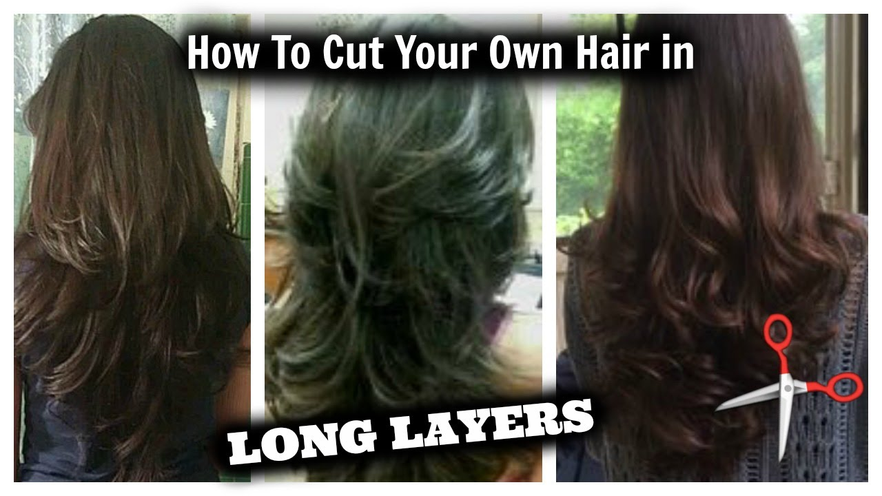 how i cut my hair in layers  at home!! │ long layered hair cut