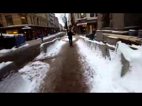 Winter cycling to work in snowy Oslo