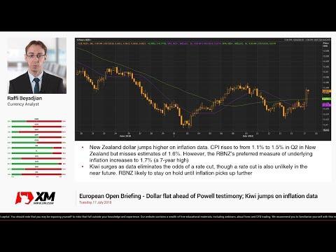 Forex News: 17/07/2018 - Dollar flat ahead of Powell testimony; Kiwi jumps on inflation data