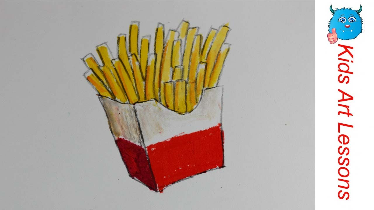 Food Drawings: How to Draw French Fries Easily in Oil Pastel Step By ...