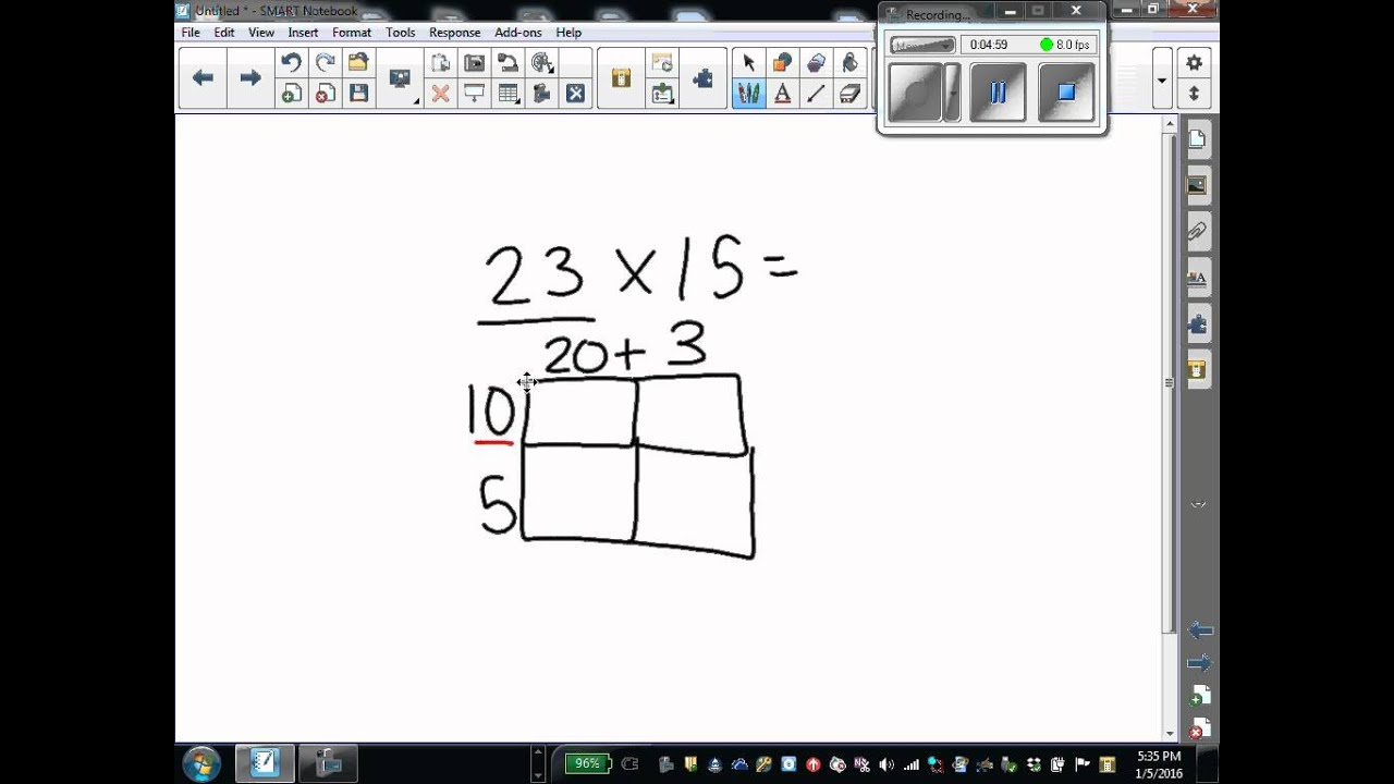 2 digit by 2 digit Multiplication Lesson Using Area Model ...