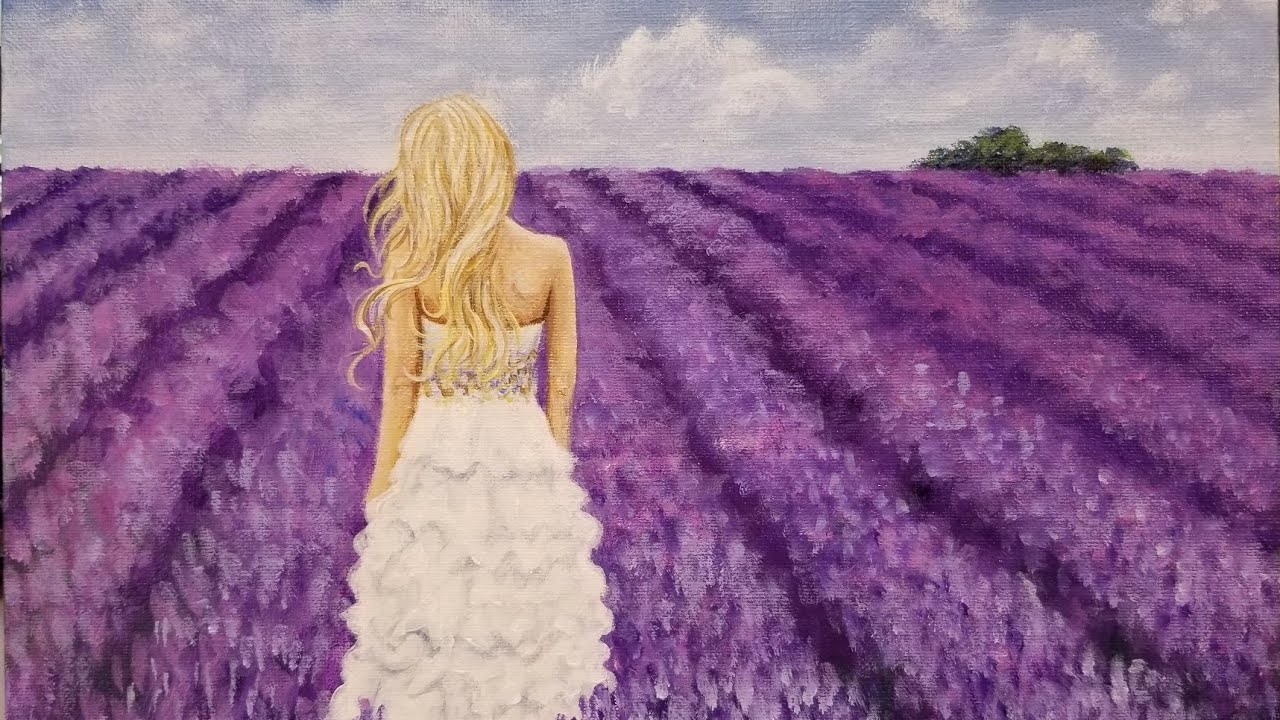 8e8270840fa Woman in Lavender Field Acrylic Painting LIVE Tutorial - YouTube