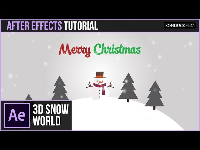After Effects Tutorial: 3D SNOW WORLD Christmas Animation