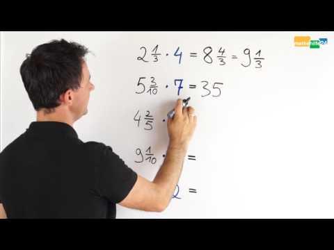 gemischte zahl mit natürlicher zahl multiplizieren - Übung - youtube