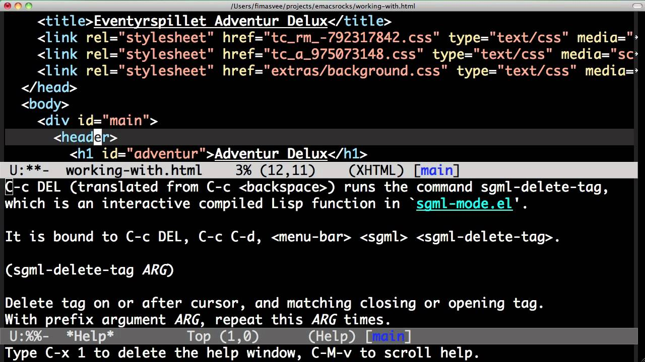Emacs Rocks! Episode 12: Working with HTML