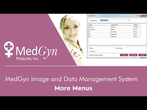 MedGyn Image and Data Management System - More Menus