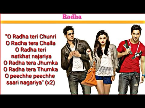 Radha Soty  Lyrics   Alia Bhatt  Sidhart Malhotra  Varun Dhawan