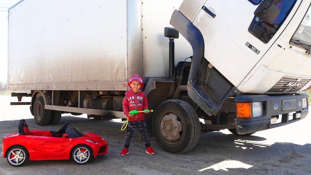 Truck is broken down – Dima on power wheels car repair the truck