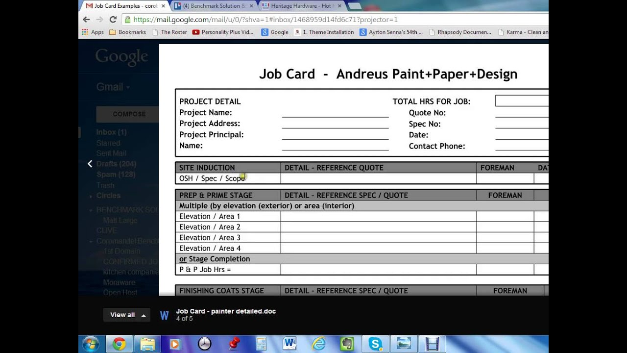 service job card template - job card template youtube