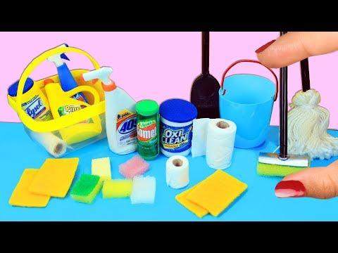 Cómo Hacer Cosas de Limpieza en Miniatura que si Funcionan  - 10 Manualidades Fáciles para Muñecas
