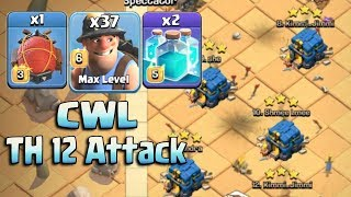 CWL Attack 2018! Best 37 Miner 2 Clone Spell With Electro Battle Blimp Easy Destroy Th12 Max Bases